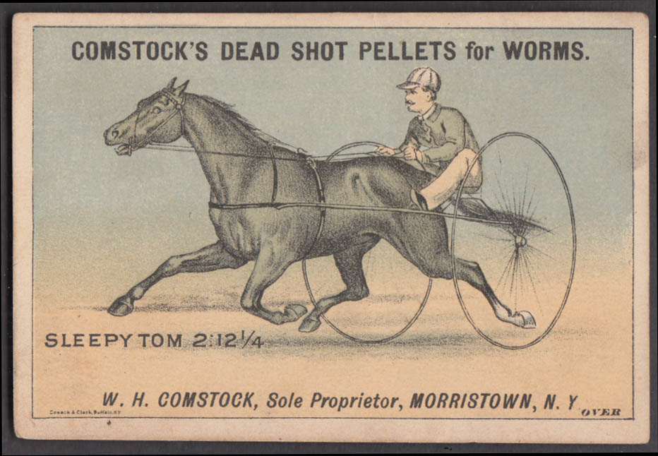 Comstock's Dead Shot Pellets for Worms Sleepy Tom harness race horse card 1870s