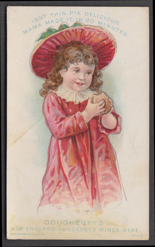Dougherty's New England Condensed Mince meat trade card red bonnet 1880s