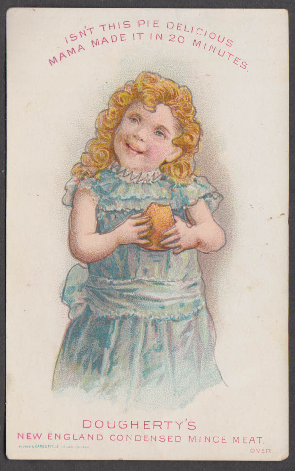 Dougherty's New England Condensed Mince meat trade card blonde curls 1880s