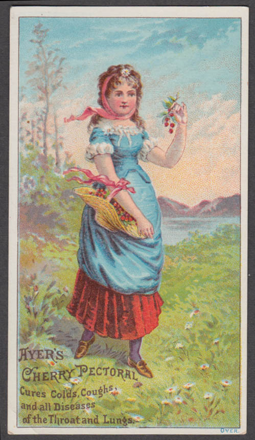 Ayer's Cherry Pectoral cures colds trade card girl picking cherries 1880s Lowell