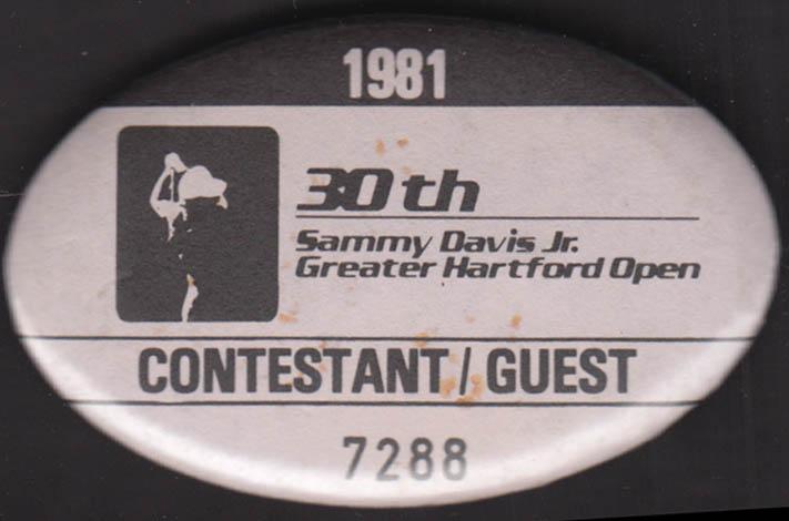 Image for Sammy Davis Jr Greater Hartford Open 1981 Contestant / Guest badge pinback