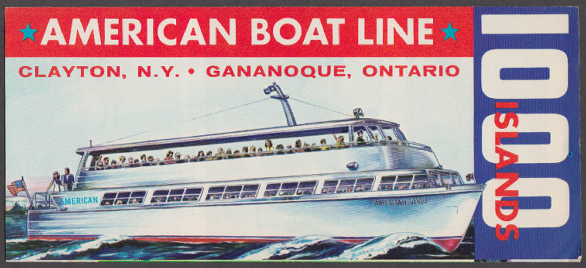American Boat Line 1000 Islands Cruise Clayton NY Gananoque ON schedule 1950s