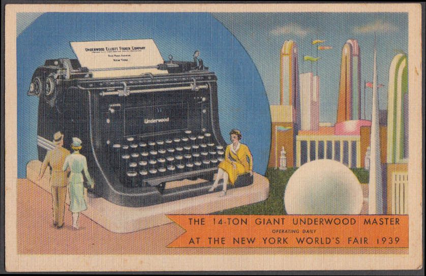 14-Ton Giant Underwood Tyoewriter New York World's Fair postcard 1939