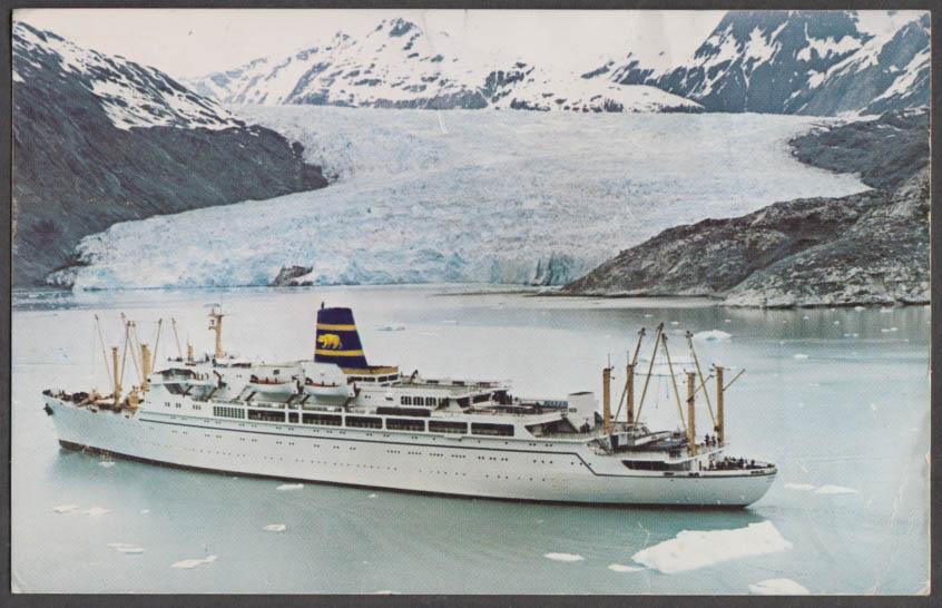 Pacific Far East Line S S Mariposa / Monterey Glacier Bay AK postcard 1971