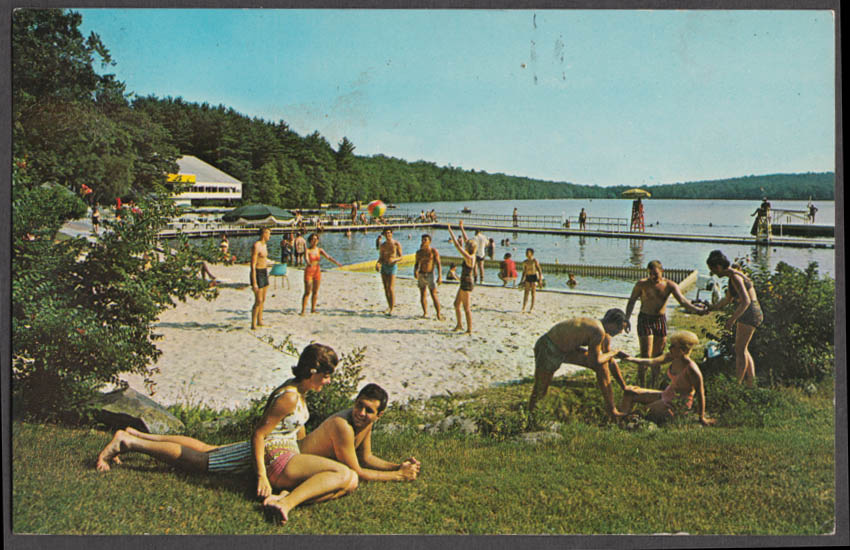 Lakefront beach Unity House in the Poconos PA postcard 1964