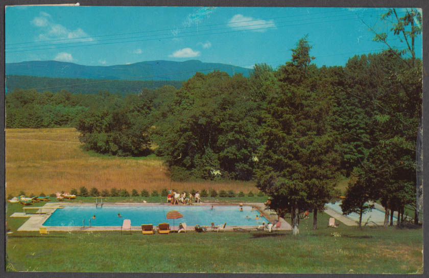 Filtered swimming & wading pools Sacks Lodge Saugerties NY postcard 1965