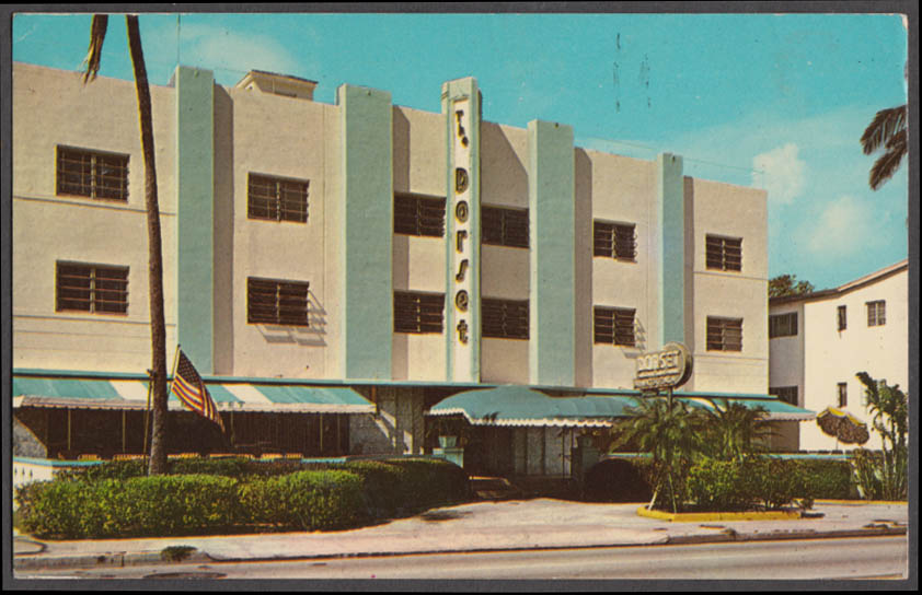 Dorset Hotel 17th & Collins Avenue Miami Beach FL postcard 1968