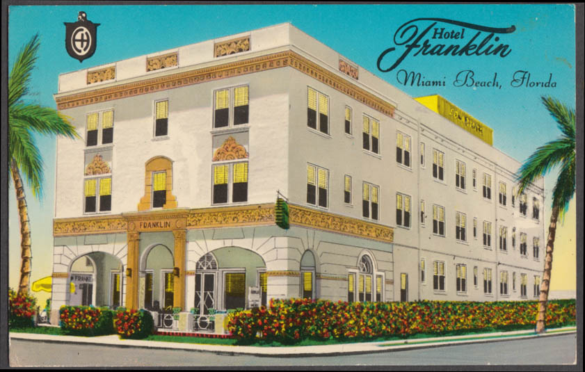 Hotel Franklin Collins Ave at 9th St Miami Beach FL postcard 1970
