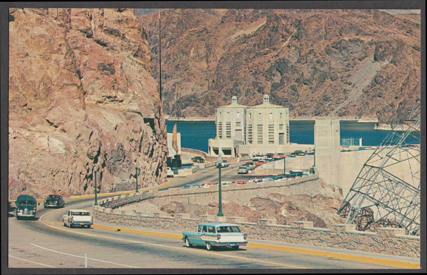 Hoover / Boulder Dam AZ-NV postcard 1958 Pontiac wagon 1958 Buick wagon