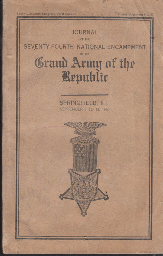 Image for Grand Army of the Republic 74th Encampment Journal Springfield IL 1940