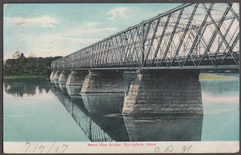 Image for The North End Bridge at Springfield MA postcard 1907