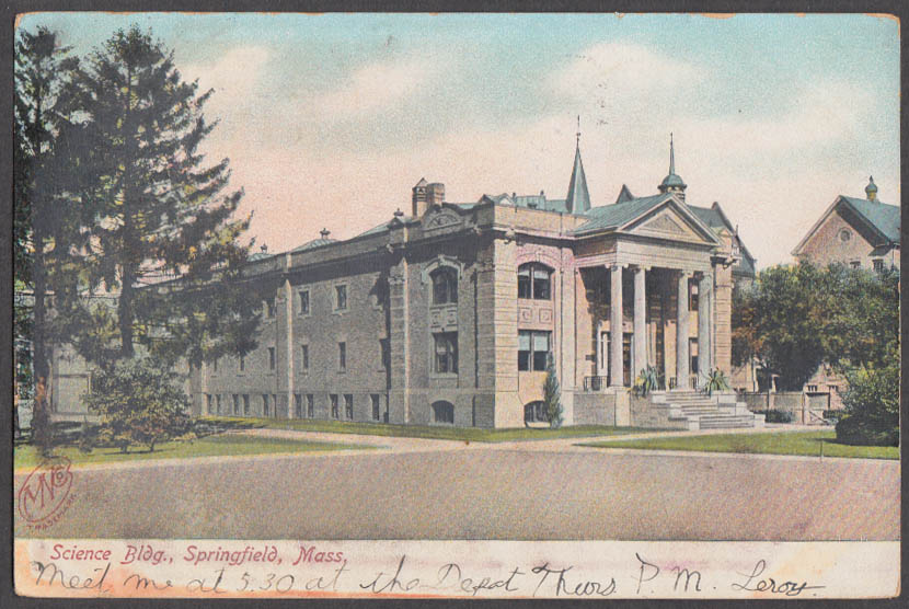 Image for Science Building Springfield MA undivided back postcard 1906