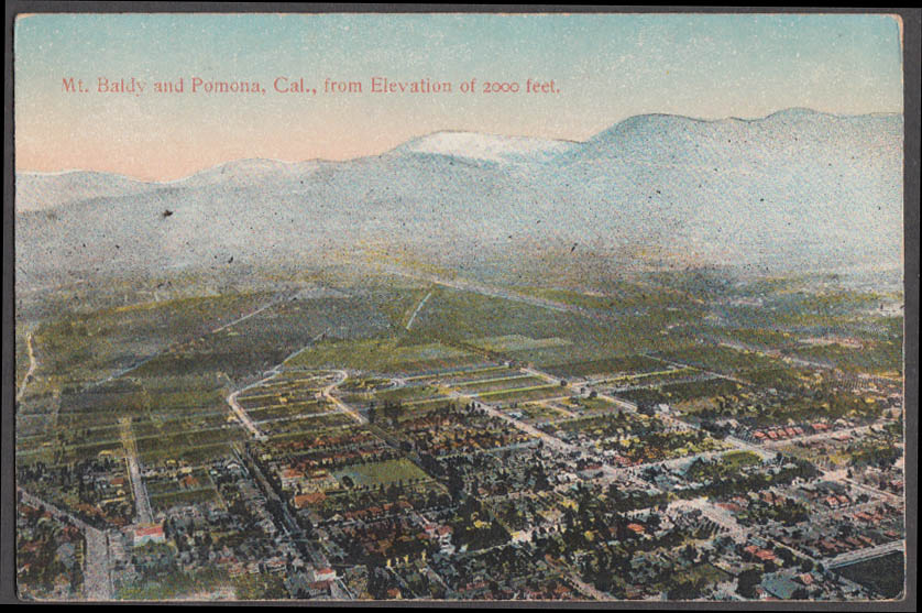 Image for Mount Baldy & Pomona CA from 2000 feet up postcard ca 1910
