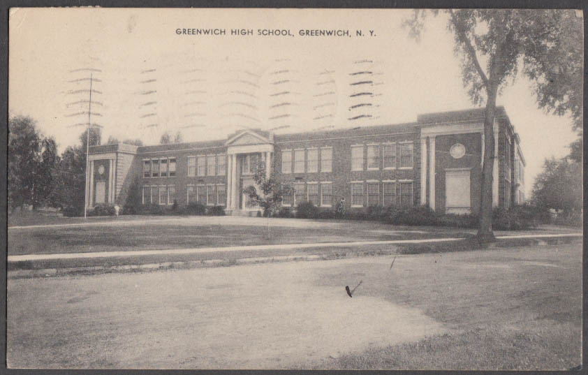 Image for Greenwich High School at Greenwich NY postcard 1938