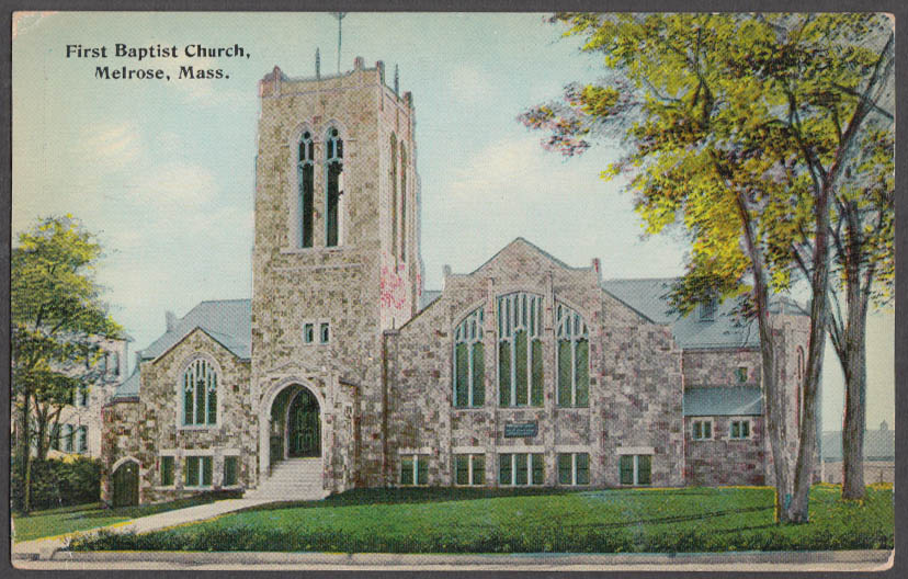 Image for The First Baptist Church at Melrose MA postcard ca 1910