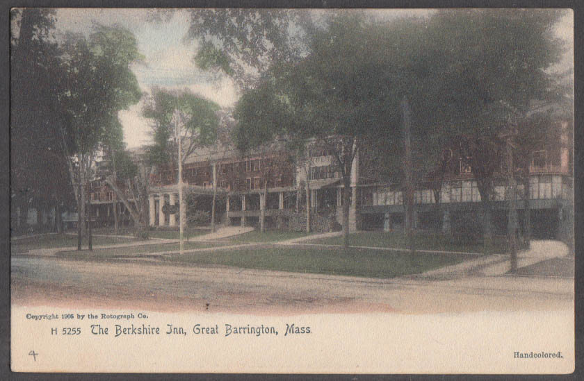 Image for The Berkshire Inn at Great Barrington MA undivided back postcard ca 1905