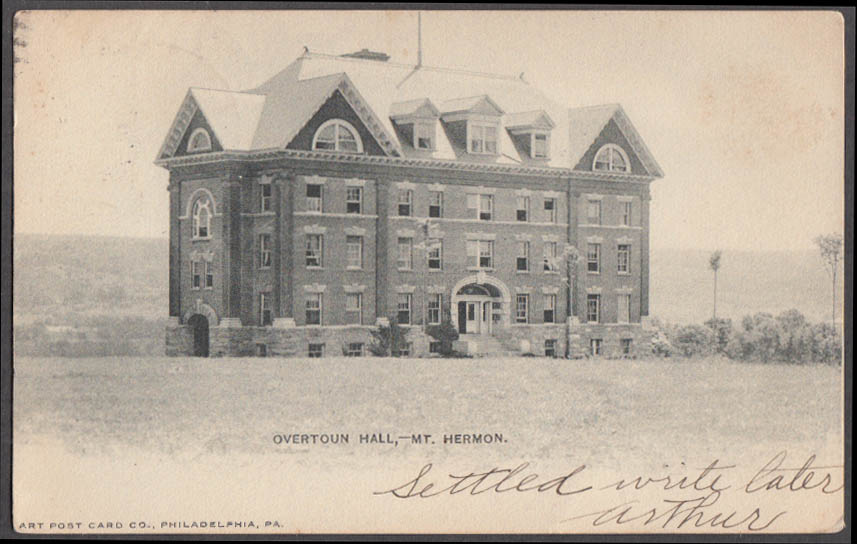 Image for Overtoun Hall at Mount Hermon MA undivided back postcard 1905