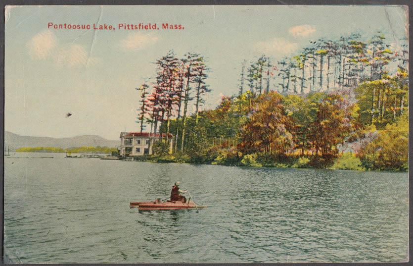 Image for Pontoon paddleboat on Pontoosuc Lake Pittsfield MA postcard 1912