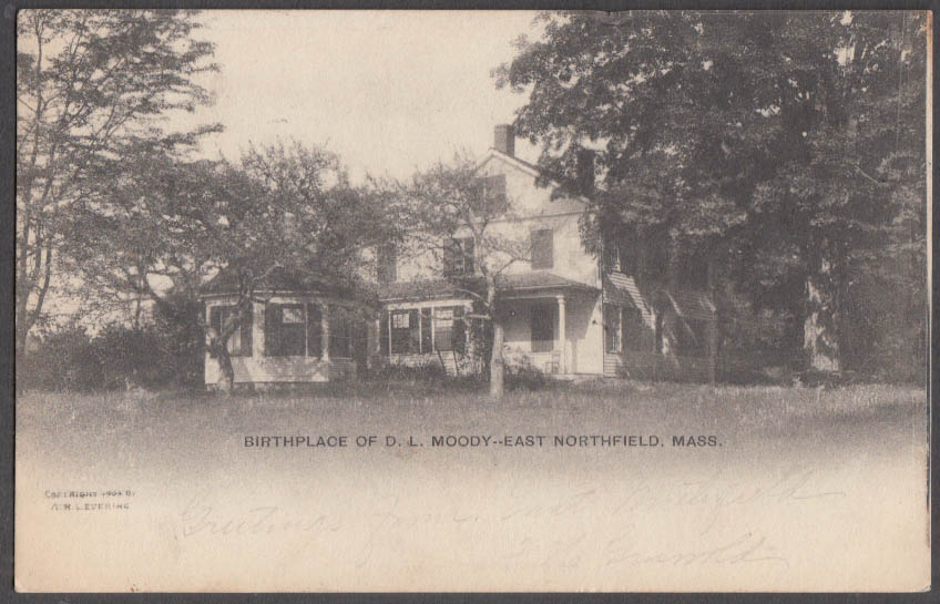 Image for Birthplace of D L Moody East Northfield MA undivided back postcard 1906
