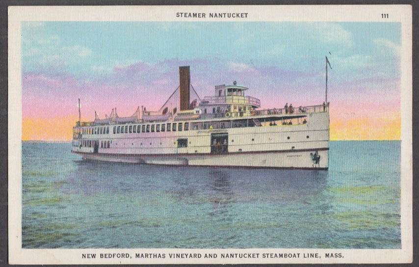 Image for Steamer S S Nantucket New Bedford Nantucket MA postcard ca 1930s