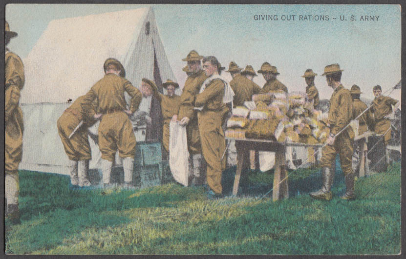 Image for Giving Out Rations United States Army postcard ca 1915