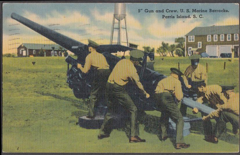 "Image for 5"" Gun Crew US Marine Barracks Parris Island SC postcard 1942"