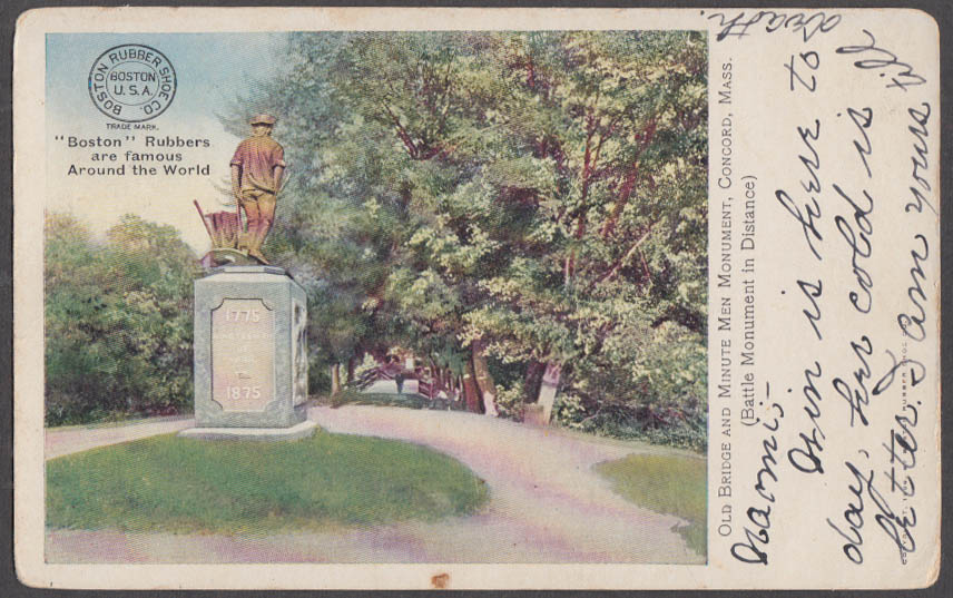 Image for Minute Men Monument Concord Boston Rubbers advertising postcard 1907