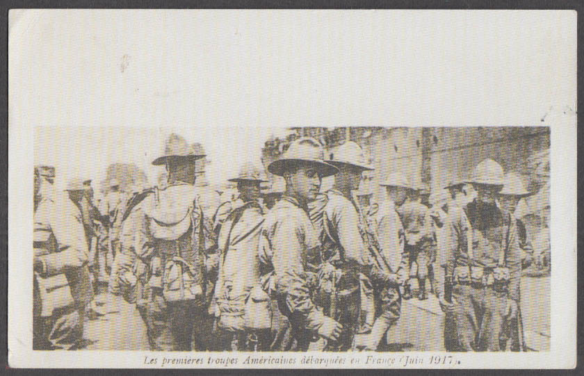 Image for First American troops debark in France June 1917 postcard