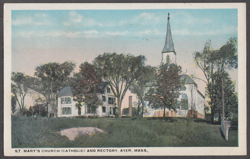 Image for St Mary's Church [Catholic] & Rectory at Ayer MA postcard 1918