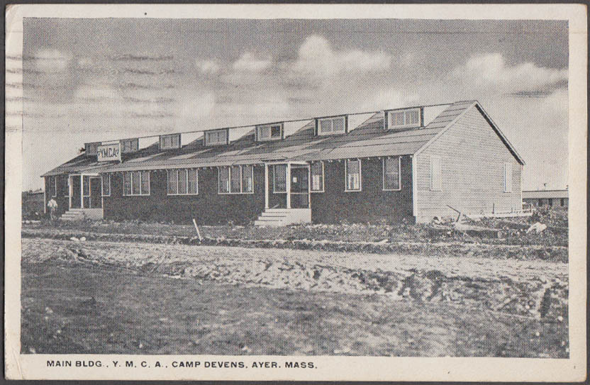 Image for Main Building YMCA at Camp Devens Ayer MA postcard 1917