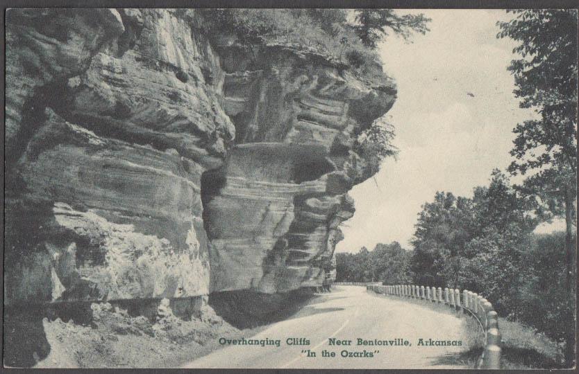 Image for Overhanging Cliffs near Bentonville AR postcard 1930s