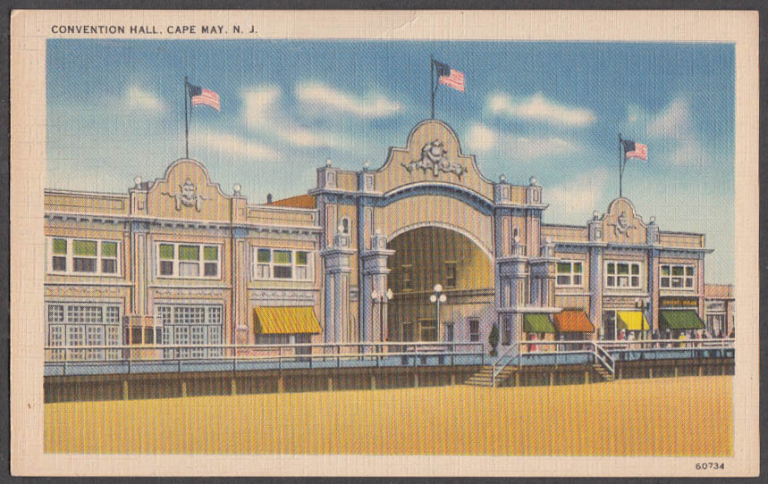 Image for The Convention Hall at Cape May NJ postcard 1938