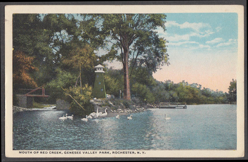 Image for Mouth of Red Creek Genesee Valley Park Rochester NY postcard 1918