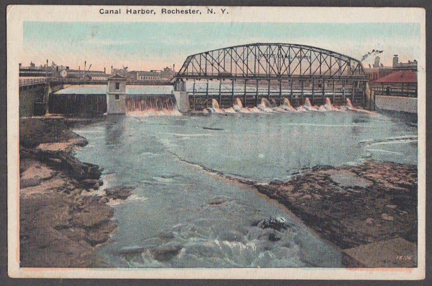 Image for Canal Harbor & spillway bridge at Rochester NY postcard 1920s