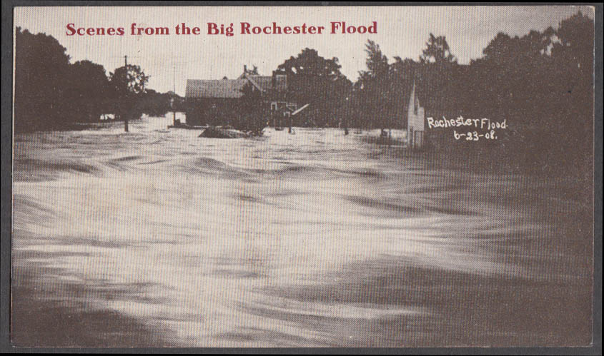 Image for Scene from the Big Rochester Flood NY postcard 1908