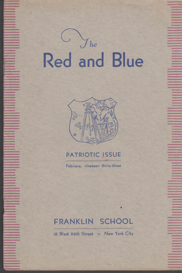 Image for Franklin School New York THE RED AND BLUE 2 1933 John Galsworthy; Patriotism