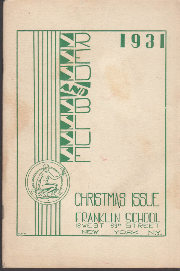 Image for Franklin School New York THE RED AND BLUE Christmas 1931 Modern Movies +