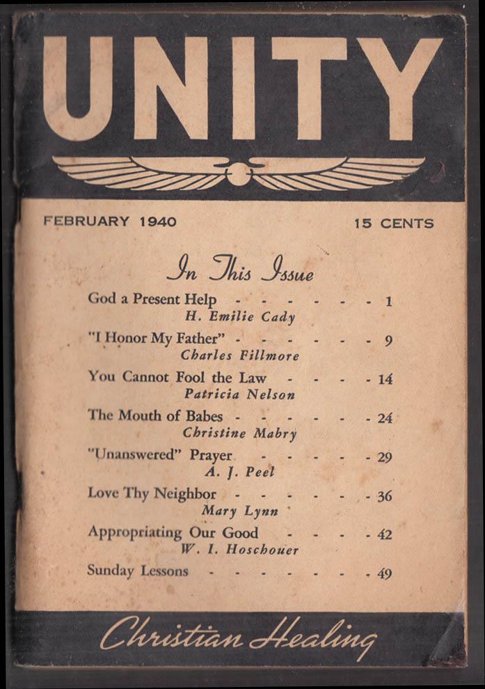 Image for UNITY 2 1940 Christian Healing magazine H Emilie Cady A J Peel +