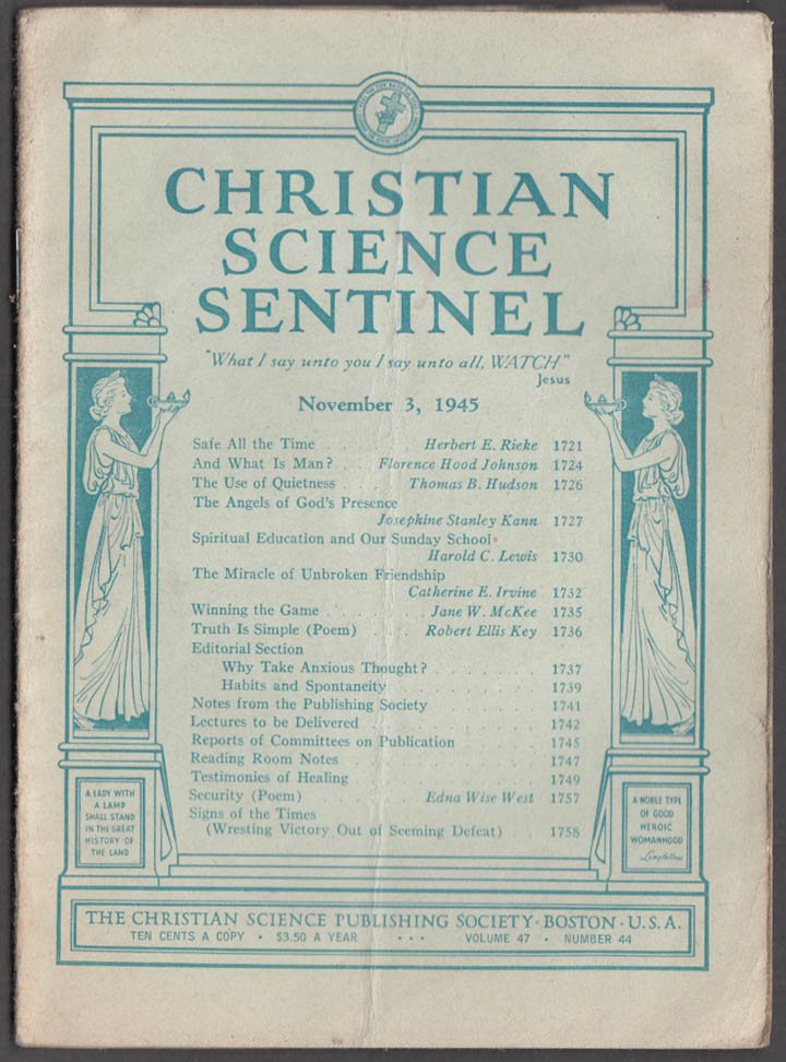 Image for CHRISTIAN SCIENCE SENTINEL 11/3 1945 Angels of God's Presence +