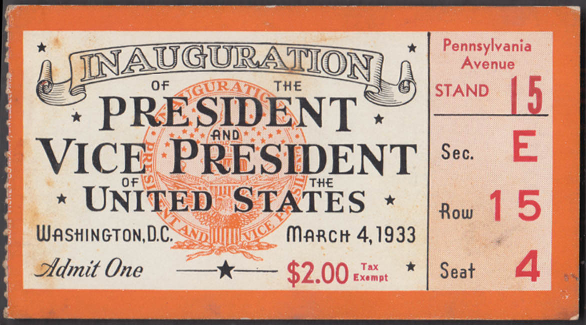 Image for 1933 Franklin D Roosevelt Inauguration Parade Ticket March 4 $2.00 face