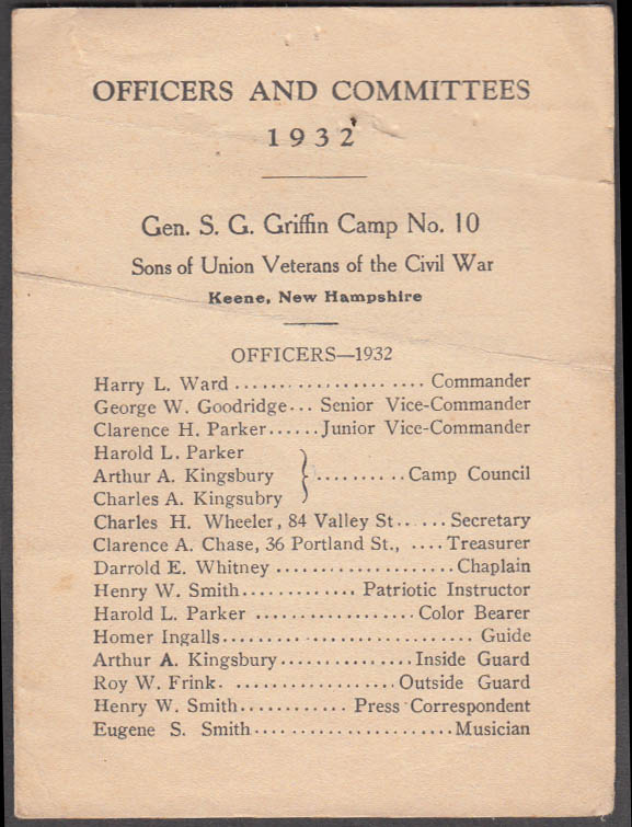 Image for Sons Union Veterans Griffin Camp #10 Keene NH Officers & Committees 1932 folder