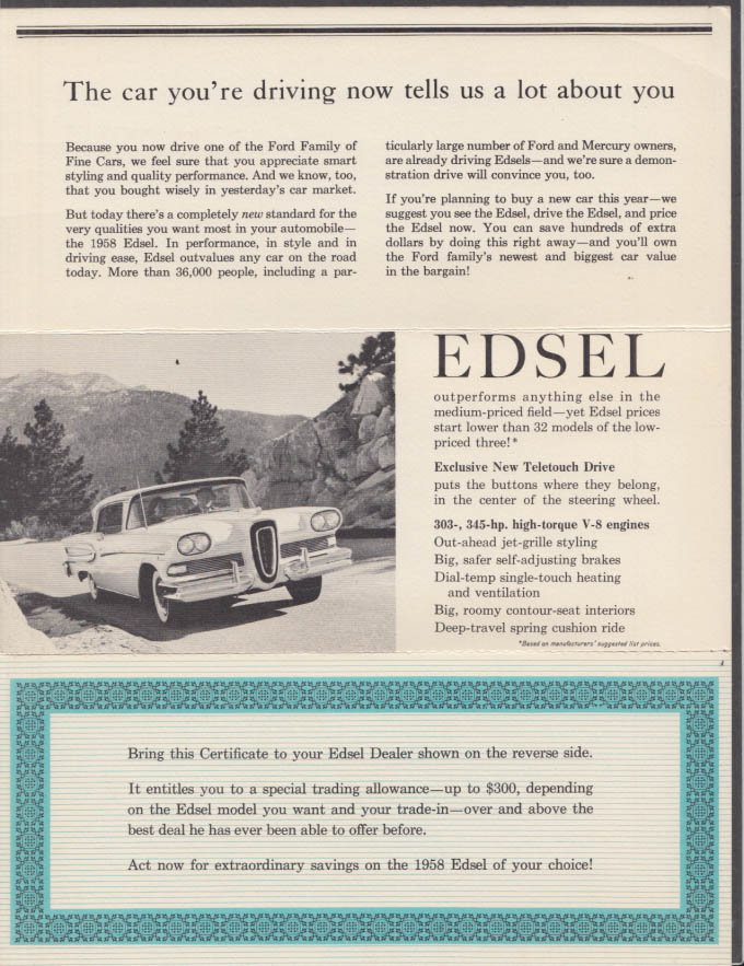 Image for 1958 Edsel Save hundreds of extra dollars mailer worth up to $300 on trade-in