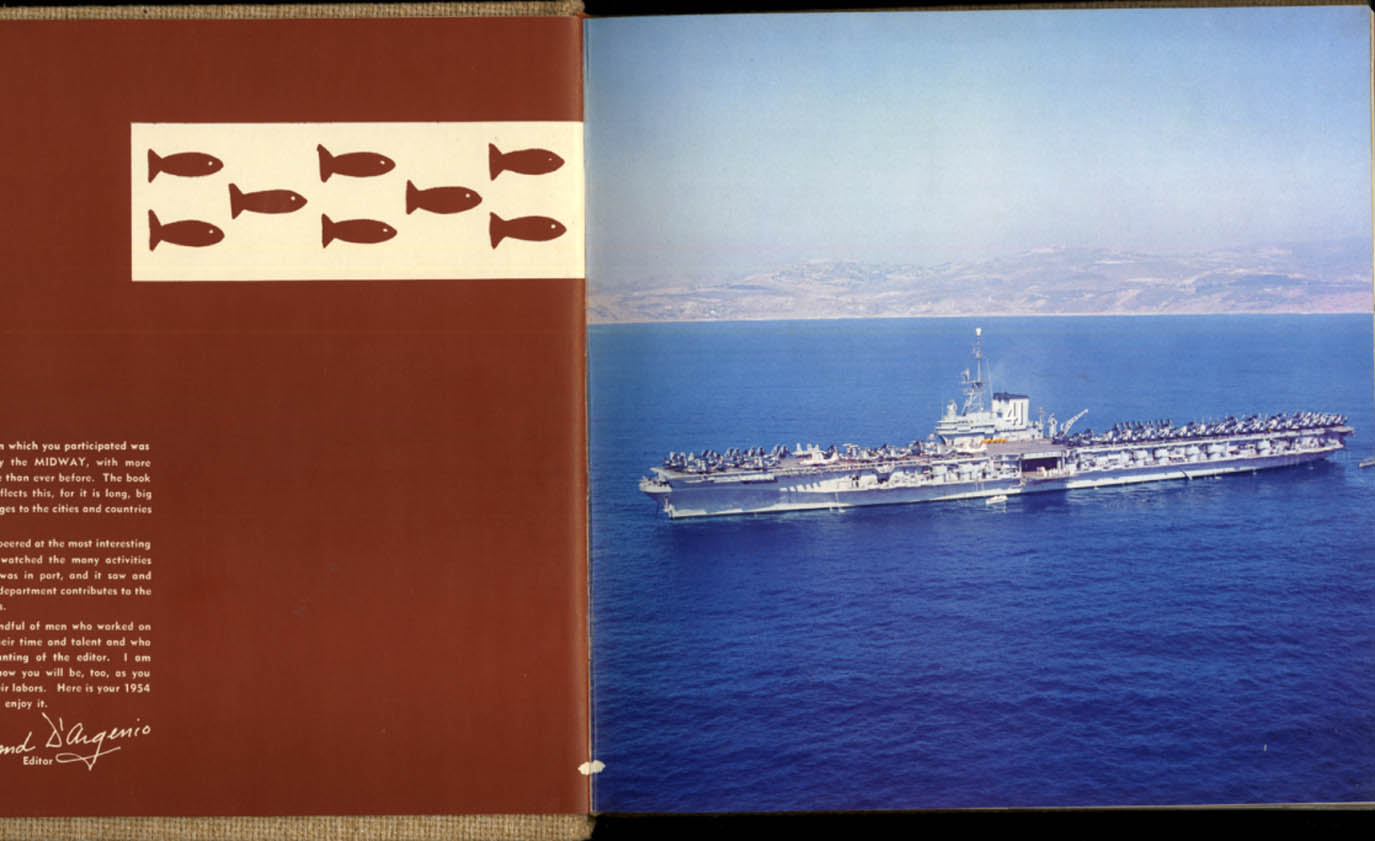 Image for Aircraft Carrier USS Midway CV-41 Mediterranean Cruise Memory Book 1954