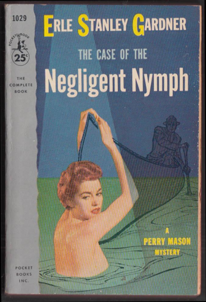 Erle Stanley Gardner: Case of the Negligent Nymph 1st PB 1954 nude redhead GGA