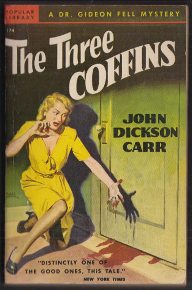 John Dickson Carr: The Three Coffins noir GGA pb screaming blonde sees blood