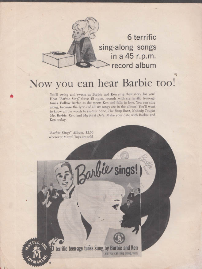 Mattel BARBIE MAGAZINE V1n1 9-10 1961 Barbie Sings record; Sports Car fashions +