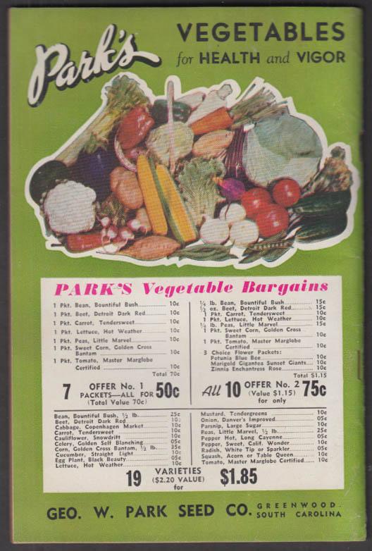Park's Flower Book Seed Catalog 1944 Geo W Park Greenwood SC
