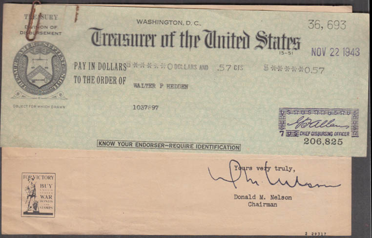 US War Production Board Token Payment uncashed check 1943 w/ cover letter