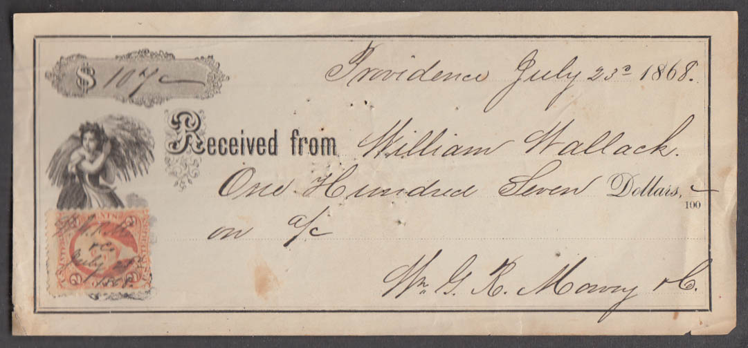 Image for $107 receipt William Wallack to Wm G R Mowry 1868 w/ revenue stamp