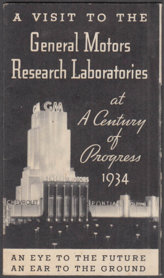 Image for General Motors Research Laboratories Century of Progress 1934 visitor folder